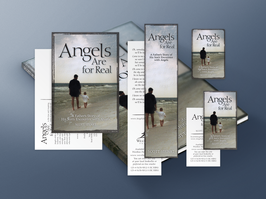 Angels Are For Real Marketing Materials | Postcard, Bookmark, BookStub, And Business Card